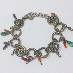 Brighton charm bracelet lotus flower links beads